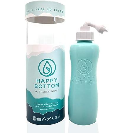 Happy Bottom Portable Bidet   Leak Free Handheld Travel Bidet and Peri Bottle with Angled Nozzle Sprayer   400 ml Capacity   With Travel Bag (Caribbean Sea Turquoise)