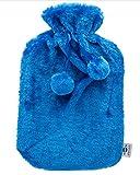 Bolsa de agua caliente axion - incluye funda/forro de felpa azul con pompones