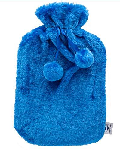Bolsa de agua caliente axion | + incluye funda/forro de felpa azul con pompones | Bolsa de agua para terapia de calor | bolsa de agua caliente excelente para dormir
