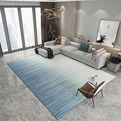 Rug baby girl nursery accessories Living room non-slip carpet, blue white gradient style stripe design girls room rug kids room decor 140*200cm