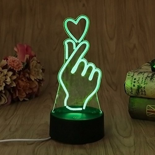 Jinson well 3D finger herz Lampe optische Illusion Nachtlicht, 7 Farbwechsel Touch Switch Tisch Schreibtisch Dekoration Lampen Acryl Flat ABS Base USB Spielzeug