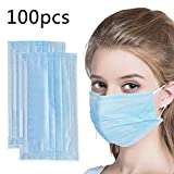 100 Pcs Disposable Face Masks - Disposable Surgical Mask Dust Breathable Earloop Antiviral Face Mask, Comfortable Medical Sanitary Surgical Mask Thick 3-Layer Masks