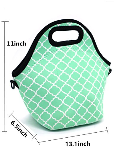 Case Wonder Neoprene Insulated Lunch Tote Reusable Washable Foldable Gourmet Lunch Bags Pouch Cooler with Detachable Adjustable Shoulder Strap for Kids Girls Women Work School (Hot Blue)