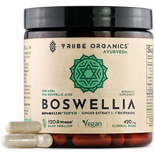 Boswellia Complex for Joint Support & Anti-inflammatory - 75% Boswellic Acid, 30% AKBA - 120 Easy Swallow Vegan Capsules - with Ginger Extract & Bioperine - Analgesic Gut Health Superior Absorption
