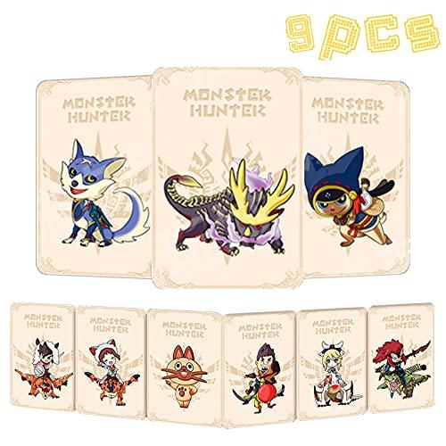 9 tarjetas de juego de etiquetas NFC para Monster Hunter Rise, compatibles con Switch/Swith Lite con una funda de tarjeta, incluyendo Palamute, Palico, Magnamalo.