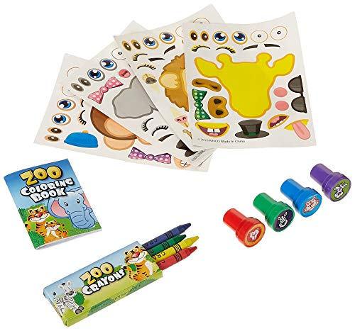 Fun Land 12 Animal Coloring Books and Crayons, 12 Jungle Zoo Stampers, 12 Zoo Animal Stickers, Party Favor Set (1 Dozen of Each )