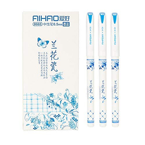 Gel Pens with Black and Blue ink Ballpoint Pens Fine Point Pens Roller Ball Smooth Writing Pens for Office Home Work, 0.5mm Fine Tip Pen,Orchid porcelain pattern (12-Pack) (Blue)