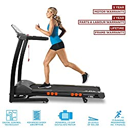 JLL Fitness are the only suppliers of JLL branded items. Buying from JLL is the only way to ensure you receive your order. Speed ranges from 0.3 km/h to 16 km/h; Incline ranges from 0 to 20 levels 5-Inch LCD monitor displays time, speed, distance, he...