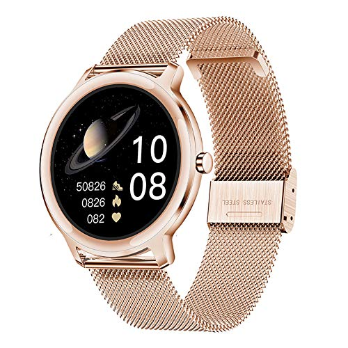 DOOK Smartwatch para Mujer, Reloj Inteligente Impermeable IP67, Pulsera De Actividad Inteligente con Monitor De Sueño Contador De Caloría Pulsómetros Podómetro para Android iOS Gold