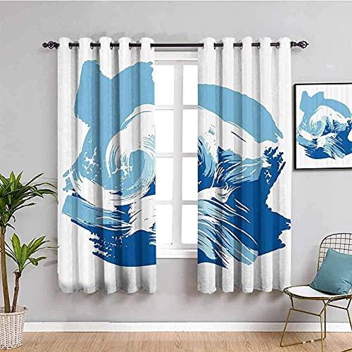 LTHCELE Opacas Cortinas Dormitorio - Azul Abstracto sencillez Arte - Impresión 3D Aislantes de Frío y Calor 90% Opacas Cortinas - 280 x 245 cm - Salon Cocina Habitacion Niño Moderna Decorativa
