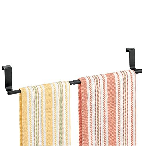 mDesign Toallero para cocina colgante - Soporte para toallas y repasadores - Accesorio para armario, se coloca sobre la puerta sin herramientas - Extensible hasta 43,18 cm - Color: Negro