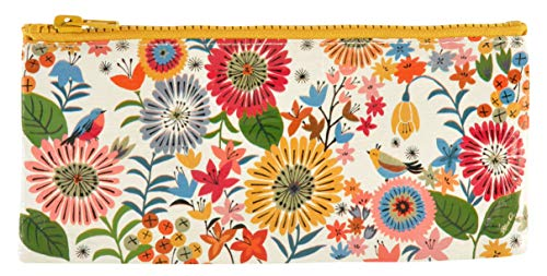 Blue Q Pencil Case, Flower Field. This palette of posies has a hefty zipper, sturdy and easy-to-wipe-clean, made from 95% recycled material. Great for Organizing Larger Bags -- Store Makeup, Chargers, Receipts, Pencils and more. Measures 4.25
