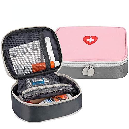 Deer Platz Medikament Tasche, Tragbare Mini Erste-Hilfe Sets, Leer Reiseapotheke Tasche, für Outdoor Sports Home Camping Wandern (Pink + Gray)