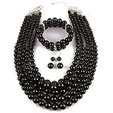Damas Artificial Collar de perlas multicapa Moda perlas de imitación rebordear Traje de tres piezas Accesorios de fiesta de cadena de Clavicular con un par de pendientes y una pulsera