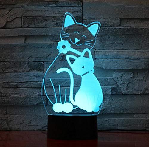 Mignon Flash Chat Lampe 7 Couleurs Changeant Veilleuse Atmosphère Lumière 3D Kitty Humeur Tactile Lampe Décor À La Maison Enfants Cadeaux