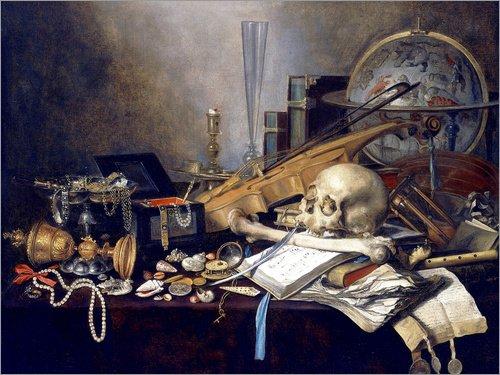 Leinwandbild 90 x 70 cm: EIN Vanitas-Stillleben mit Musikinstrumenten, einem goldenen Pokal, einem Globus, einem Schädel und von Pieter Claesz/ARTOTHEK - fertiges Wandbild, Bild auf Keilrahmen.