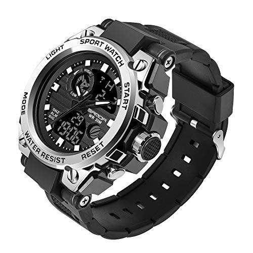 KXAITO - Reloj de pulsera militar resistente al agua para hombre, con fecha, multifunción, LED, con alarma y cronómetro, para exteriores y deportes, L, Blanco