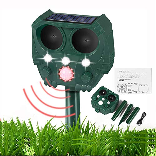 Garden Cat Repellent, Ultrasonic Cat Repellent with Motion Sensor and Flashing Lights, Solar Powered & USB Powered for Cat Dog Birds Foxes Animal (Waterproof)