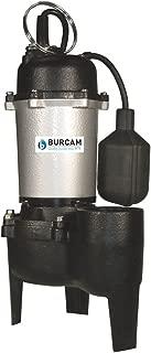 BURCAM 400504Z 1/2 HP Cast Iron Sewage Pump, Black