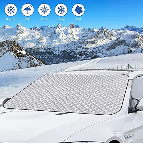 Protector para Parabrisas, Cubierta Parasol Coche Delantero, Cubierta de Nieve del Parabrisas, Protege de Hielo, Nieve, UV,...