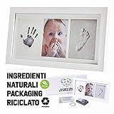 Cornice Impronte Neonato | Kit Impronta Manina e Piedino Con Stampo e Portafoto | Regalo Nascita Bimbo Battesimo | Eco-Friendly Baby Art Family Touch | Decorazioni Cameretta Completa