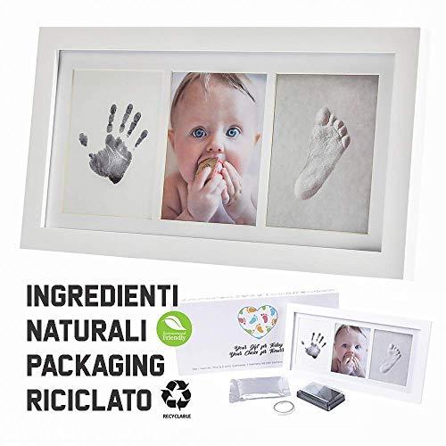 Marco de fotos para recién nacido. Kit de impresión de mano y pie con molde y portafotos. Regalo para nacimiento de bebé, bautizo, etc. Eco-Friendly Baby Art Family Touch