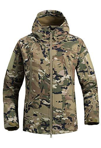 IKIIO Men's Polar Fleece Cargo Jacket Warm Camo Military Safari Tactical Anorak Coat (Light Camo, X-Large)