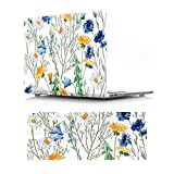 HRH 2 in 1 Seethrough Floral Laptop Body Shell PC Protective Hard Case Cover and Matching Silicone Keyboard Cover for MacBook 12' with Retina Display A1534 (2015 Release)&A1931(2018 Release)