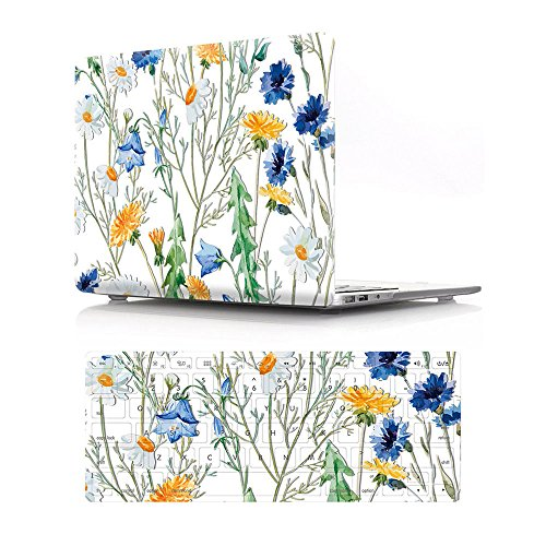 HRH 2 in 1 See-Through Floral Laptop Body Shell Protective PC Hard Case Cover and Matching Silicone Keyboard Cover for MacBook Old Pro 15.4'(with CD-ROM Drive Model A1286)