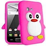 Semoss Funda de pingüino Silicona Carcasa Cover para Samsung Galaxy Y S5360 (Rosa)
