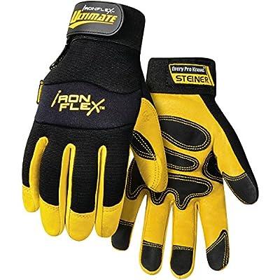 Steiner Ironflex Work Gloves, Ultimate Pigskin, Black Spandex