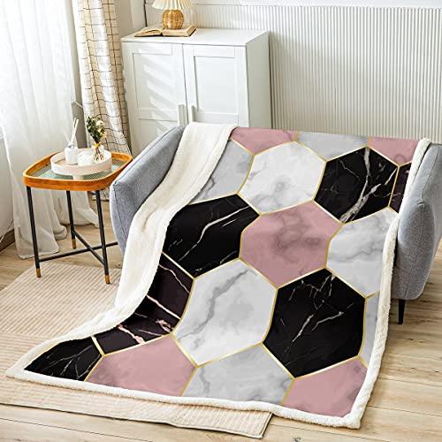 Manta de cama de nido de abeja con geometría hexagonal para niños, adolescentes, color blanco y negro