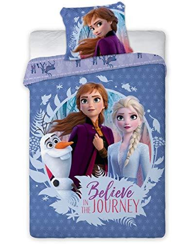 Aymax S.P.R.L. Disney - Juego de funda nórdica (140 x 200 cm + funda de almohada 65 x 65 cm), diseño de Frozen