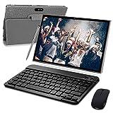 Tablet 10 Pulgadas 3 GB RAM 32GB/128GB ROM Android 9.0 Certificación Google GMS Ultrar-Rápido Tablets 4G LTE Dual SIM / WiFi 8000mAh Quad Core /GPS, Bluetooth, OTG, Netfilix/ - con Teclado (Gris)