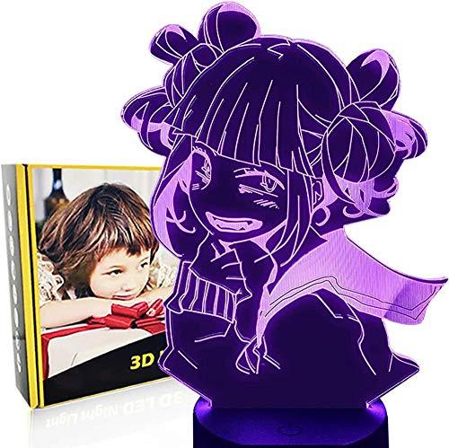 My Hero Academia Himiko Toga Lámpara de ilusión 3D Luces de noche 16 Cambio de Color Lámpara Decoración – Regalo perfecto Festival de Cumpleaños Navidad para bebés adolescentes amigos