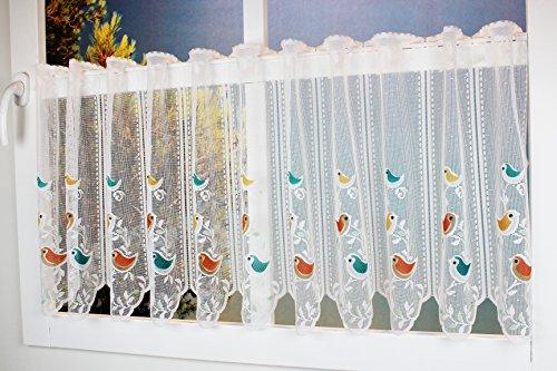 Charming Sweet Birds Cafe tenda cucina tenda con occhielli–delicato tessuto voile con divertente uccelli colorati–trasparente altezza/W 50x 150) Finestra tenda Cafe tendine–un gioiello in ogni cucina/Kamaca-Shop