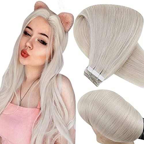 Hetto Remy Hair Extensions Tape Echthaar Blond Extensions Echthaar Tape in Haar Weißblond Double Weft Tape in Extensions Echthaar Glatt Menschliches Haar Skin Weft 20pcs/50g 22 Zoll