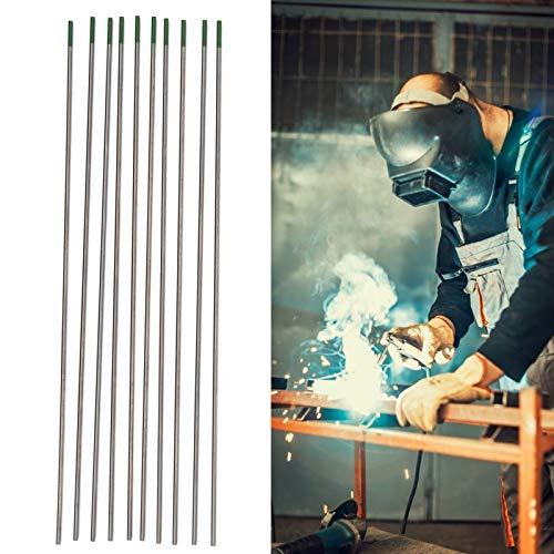 Electrodo de tungsteno de varilla, 10 piezas WP 1,6 × 175 mm-1/16 cabeza verde de electrodo de tungsteno puro para fregadero de soldadura por arco de argón, productos de aluminio y aleación