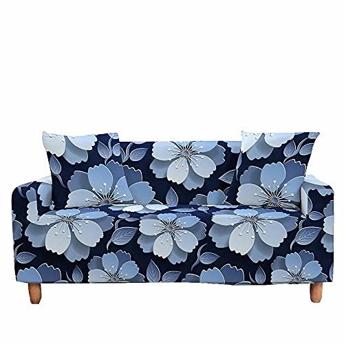 Fansu Funda de Sofá Elástica para Sofá de 1 2 3 4 Plazas, Ajustable 3D Flor Estampada Cubre Sofa con 1 Funda de Cojín, Antisuciedad Antideslizante Protector de Muebles (Azul Noble,1 plazas)