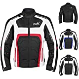 Textile Motorcycle Jacket For Men Dualsport Enduro Motorbike Biker Riding Jacket Breathable CE ARMORED WATERPROOF (Red, L)