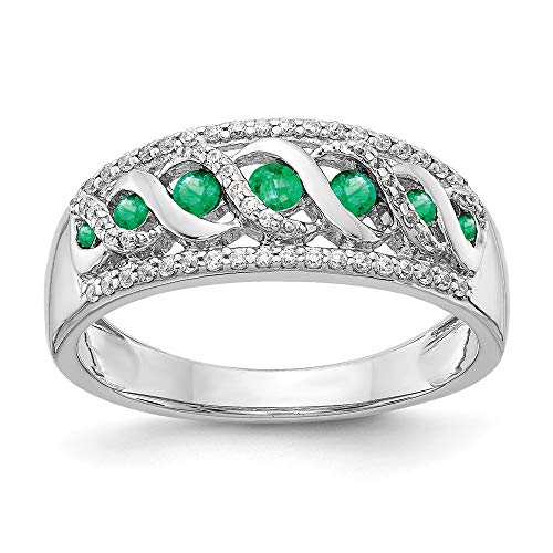 14k White Gold Diamond and Emerald Fancy Ring, Size 54