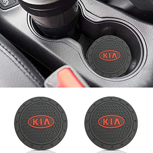 Wall Stickz Auto Sport 2.75 Inch Diameter Oval Tough Car Logo Vehicle Travel Auto Cup Holder Insert Coaster Can 2 Pcs Pack fit Kia Accessories