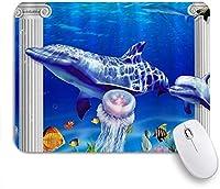 PATINISAマウスパッド アンダーウォーターワールドイルカの熱帯海洋生物 ゲーミング オフィス おしゃれ 防水 耐久性が良い 滑り止めゴム底 ゲーミングなど適用 マウス 用ノートブックコンピュータマウスマット