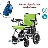 Sillas de ruedas eléctricas plegables CHHD, silla de ruedas con luz eléctrica de aluminio, doble función se puede abrir en 1 segundo, reposapiés móvil plegable, duración de la batería 12 millas eléctr
