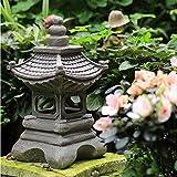 Vitaisa Solarlicht Outdoor Garten Ornament Zen Japanischer Garten Pagode Statue, Pagode Licht Solar Gartenlampe Statue Farmhousebalcony Kreative Dekoration Lampe