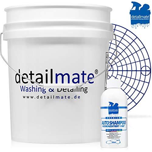 """detailmate Autopflege Einsteiger Basis Wasch Set: Autoshampoo - Konzentrat - 500 ml + original GritGuard Wascheimer 5GAL ca 20L + Grit Guard Schmutzeinsatz 12"""""""