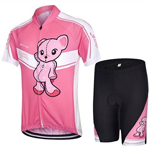 JT-Amigo Maillot de cyclisme junior manches courtes + cuissard enfant, Rose 122/128 (Talla del Fabricante: L)