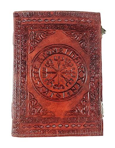 Kooly Zen – Cuaderno de notas, diario, libro, piel auténtica, vintage, vegvisir vikingo, 2 cierres, 18 x 25 cm, 240 páginas (120 hojas) Papel premium