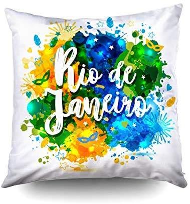 Fundas decorativas para cojines, fundas cuadradas para fundas de cojines Inscripción Río de Janeiro Brasil Vacaciones sobre un fondo Manchas de acuarela Colores de The Br impresos con ambos lados