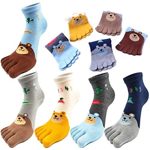 REKYO 5 Paar Zehen Socken Baumwolle Kinder fünf Finger Socken niedlichen Cartoon Tiermuster Socken für jungen Mädchen 3-12 Jahre (Bär, 3-7 Jahre)